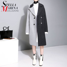 2017 New England Style Winter Women Elegant Long Blends Coat Hit Color Black Patchwork Female Thick Overcoat manteau femme 1975(China)
