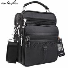 OU BA SHU Genuine Leather Bag top-handle Men Bags Shoulder Crossbody Bags Messenger Small Flap Casual Handbags Male Leather Bag