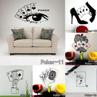 Poker Decal Pro Cards Spade Club Heart Diamond Wall Sticker Suit Playing Game Room Night Basement