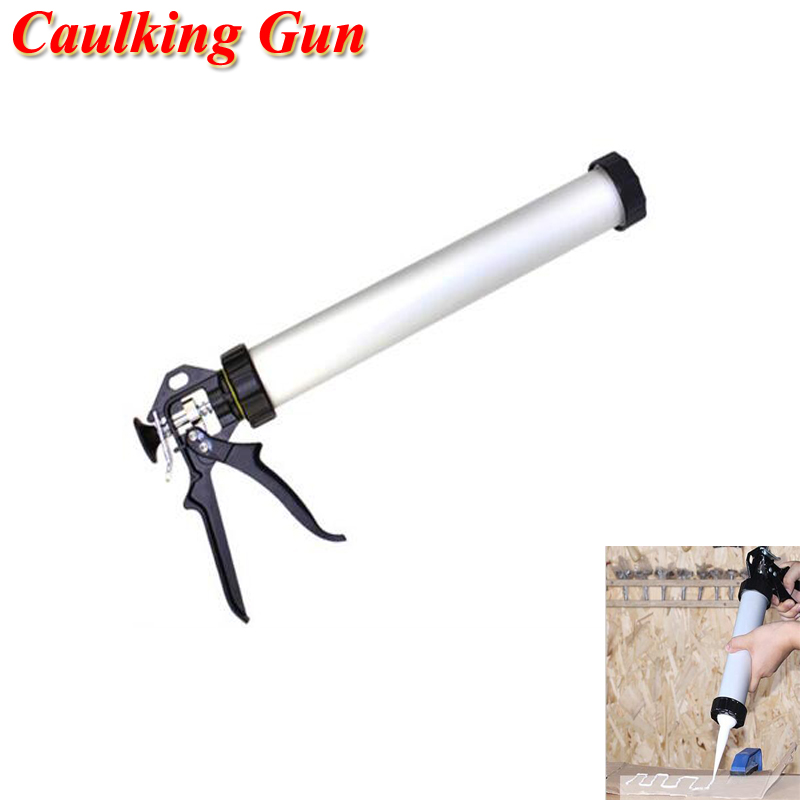600ml Aluminum Casing Caulking Gun Durable Sausage Silicone Gun Adhesive Sealant Guns Caulking Tool C2051202