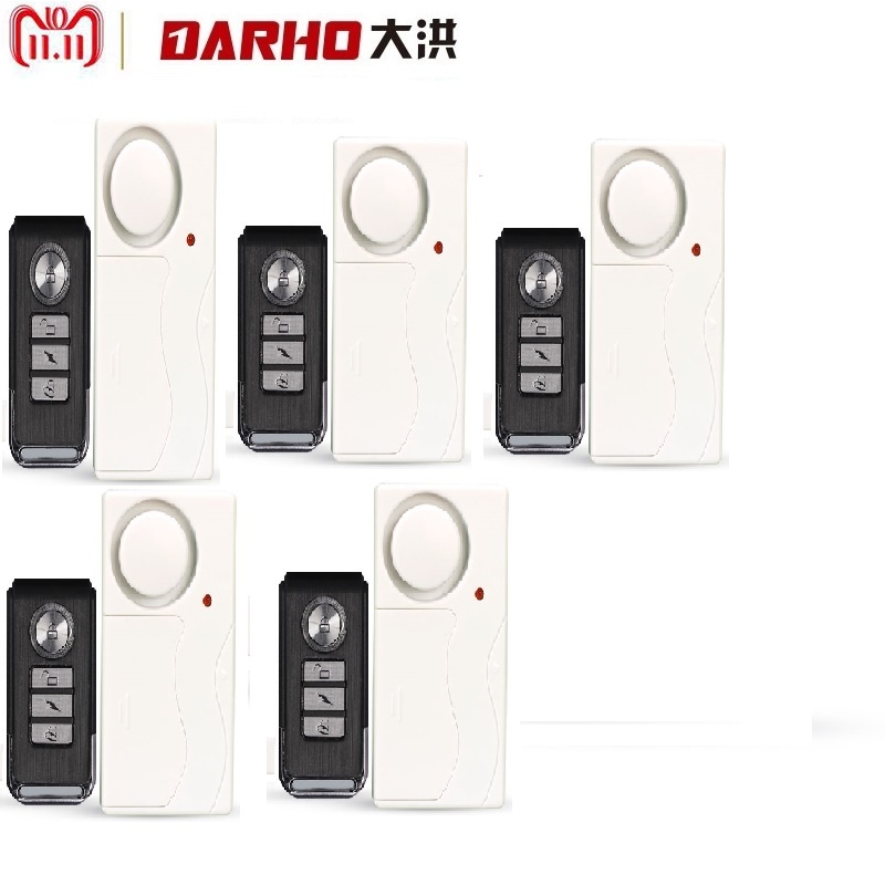darho large volume home store security door window siren alarm warning system wireless door detector burglar alarm for25pcs Darho 5pcs/lot Home Security Door Window Siren Magnetic Sensor Alarm Warning System Wireless Remote Control Door Detector