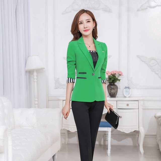 Aliexpress.com : Buy Ladies Green Blazer Women Business Suits ...