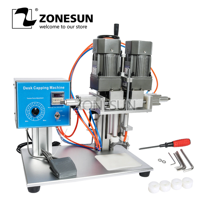 ZONESUN Screw Capping Machine Dropper Glass Jar Spout Pouch Perfume Rotary Electric Juice Desktop Capping Machine