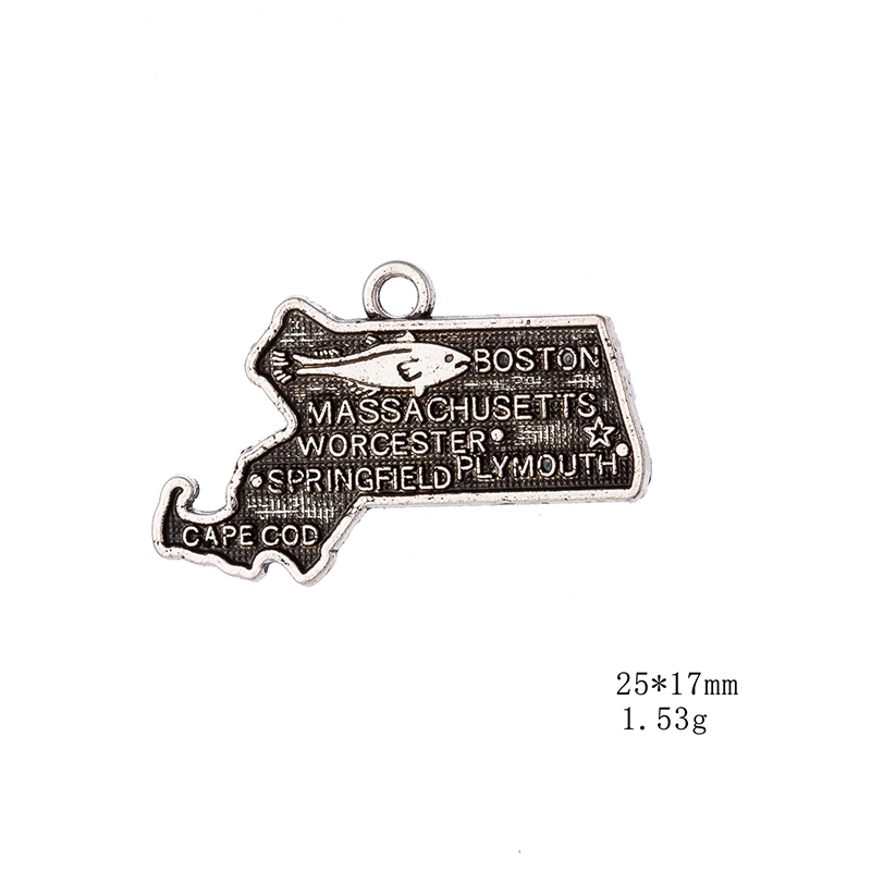 50PCS Antique Silver Boston USA Map Dangle Charms DIY For Bracelet Jewelry