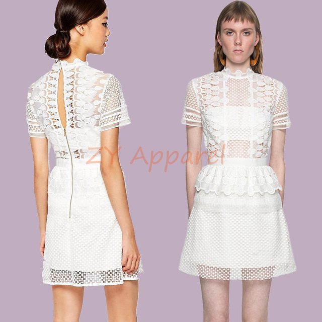 abc4f1c97596 2016 New arrive self portrait WHITE Lace Chiffon Sculptured Tier Drop  Peplum A line Mini Dress-in Dresses from Women's Clothing on Aliexpress.com  | Alibaba ...
