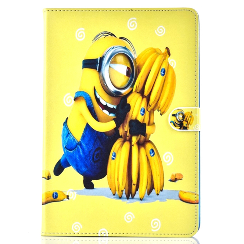 Case For Samsung Galaxy Tab A 9.7 T555 T550 Cartoon Lovely 7 Kinds Minions Patterns Tablet Case Cover Stand shell coque para