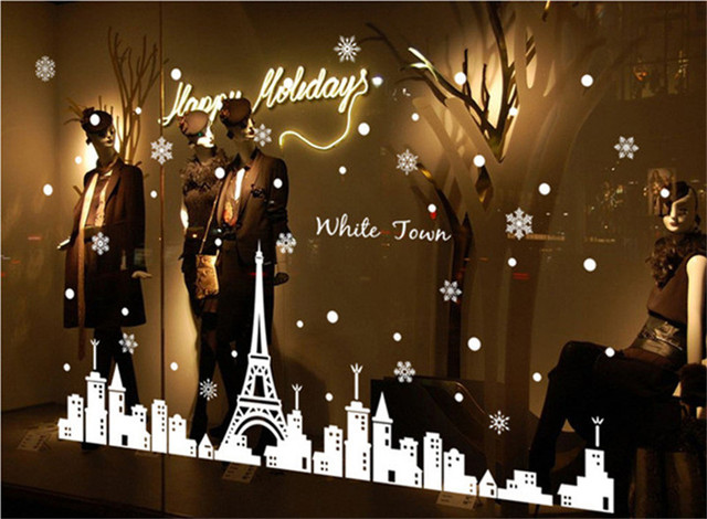 Aliexpresscom Buy White Town Snowflake Wall Sticker Home Decor - Christmas wall decals removable