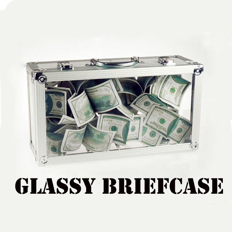 Glassy Briefcase Magic Tricks Empty Crystal Briefcase Appearing Bills Flowers Magia Magician Stage Illusions Gimmick Props Funny
