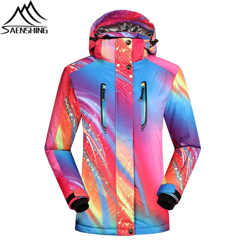 SAENSHING women's ski jacket Waterproof 10000 super warm snowboard snow jacket breathable outdoor Mountain skiing Coats Female