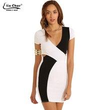 Women Dress Bodycon Black and White Wrap Dresses Eliacher Brand Plus Size Clothing  Sexy Party Sleeveless e5b19f851b2c