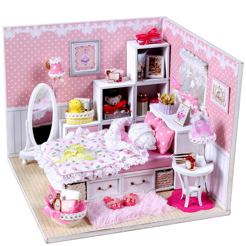 Assemble Diy Doll House Toy Wooden Miniatura Doll Houses Miniature Dollhouse Toys With Light About 16*13*13cm Birthday Gift