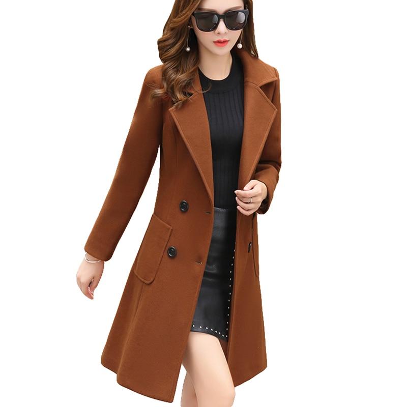 Long Sleeve Winter Wool Coat Women Europe Style Blends Large Size Casaco Feminino Ladies Autumn New