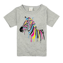 2017 Boys Short Sleeve T Shirts For Children Cute horse Girl T-shirt Cotton 1-15 Year Kids Clothing Baby Girls Tops Tees Clothes