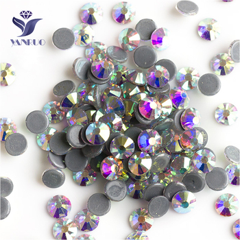 YANRUO 2058HF Crystal AB Flat Back DIY Strass Hot Fix Glass Stones and Crystals Hotfix Rhinestones Adhesive For Clothes