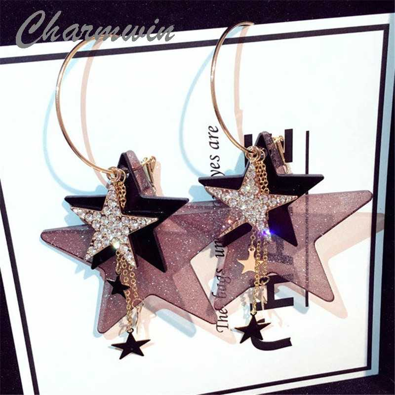 Charmwin Exaggerated Big Long Earrings For Women New Fashion Jewelry Rhinestone Star Large Dangle Earrings PE1405