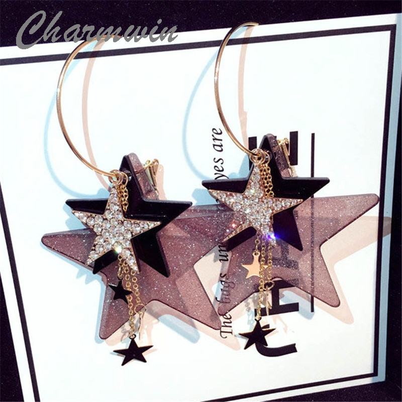 все цены на Charmwin Exaggerated Big Long Earrings For Women New Fashion Jewelry Rhinestone Star Large Dangle Earrings PE1405