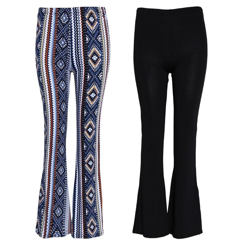 KLV NEW Womens Elastic Bell-bottom Trousers Flared Hem Knitted  Pants Leggings2020
