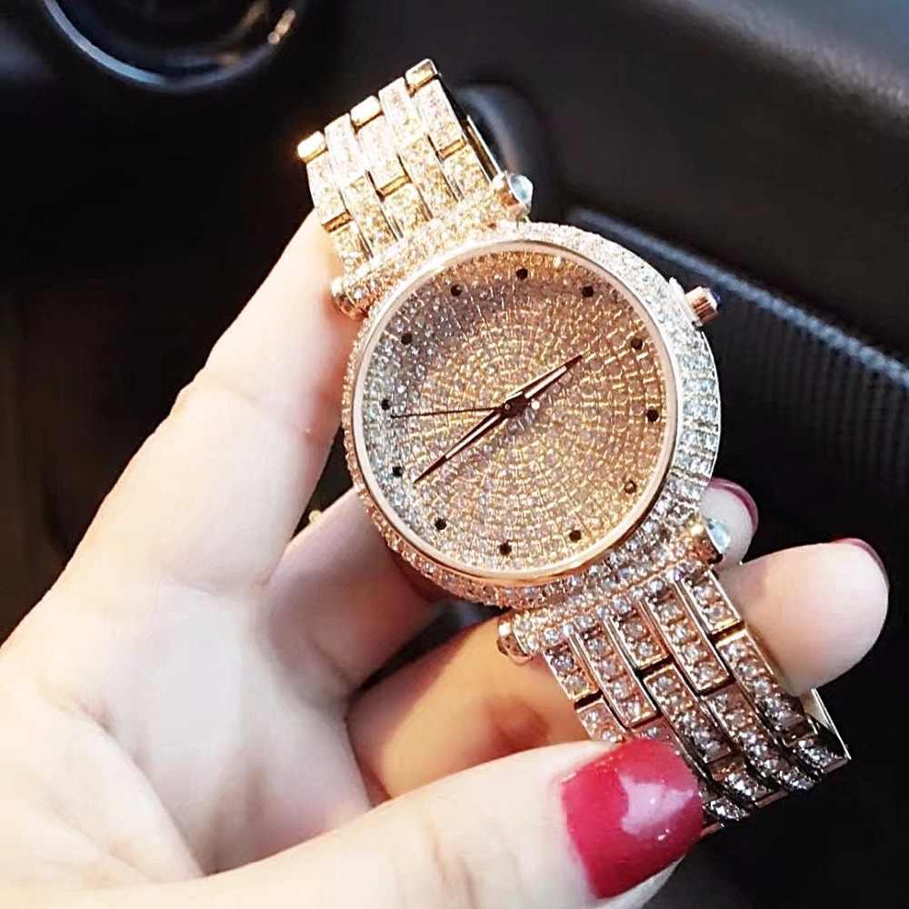 Elmas taklidi Elmas bayanlar kol saati 2017 yeni moda LGXIGE marka lüks İzle kadınlar bilezik pirinç metal İzle montre femme