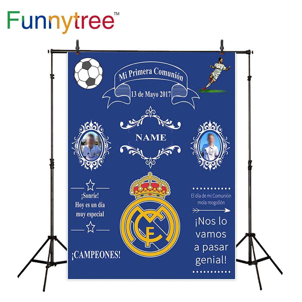 Funnytree photographie backdropsfootball jeu communion enfant bleu badge bannière photocall studio fonds caméra photographique