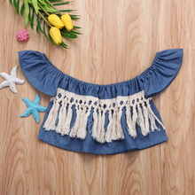 Джинсовые блузки рубашки топы с открытыми плечами и кисточками для маленьких девочек летняя одежда для девочек Sunsuit от 0 до 24 месяцев
