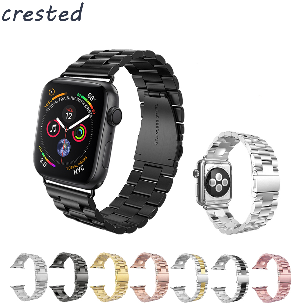 Lujo correa de acero inoxidable para apple watch banda 42mm/38mm/44mm/40 enlace pulsera para iWatch 4/3/2/1 metal muñeca