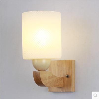 € 35.92 29% de réduction|Luminaires de lampe à LED murale en bois moderne  avec abat jour en verre pour chambre LED dans LED Intérieur Mur Lampes de  ...