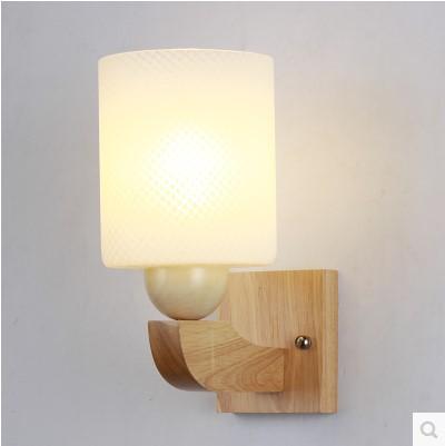 moderna de madera accesorios de la lmpara de pared led con pantalla de cristal para el