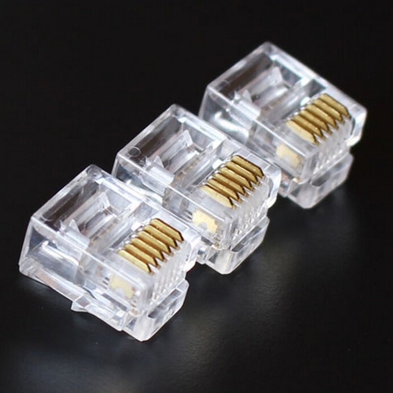 JETTING 100Pcs 6P6C Crystal Head RJ12 Modular Plug Gold Plated Network Connector For Solid