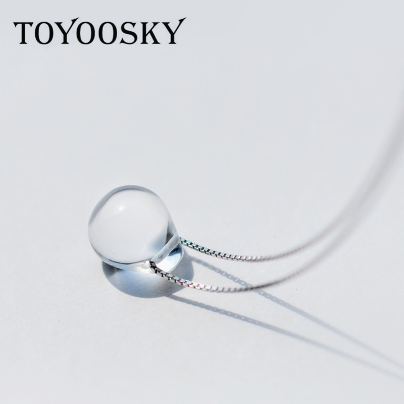TOYOOSKY Mermaid's Tear Water Drop Necklace 45CM 40CM 925 Silver Chain Two Choic