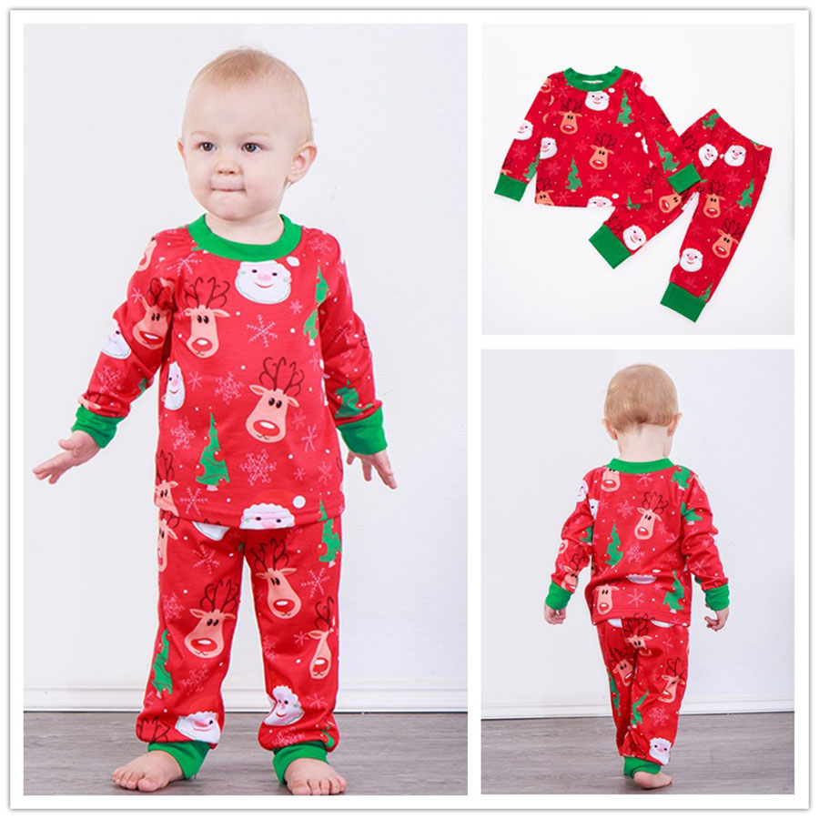 Baby Christmas Pajamas sets Santa Claus elk Deer Sleepwear ...