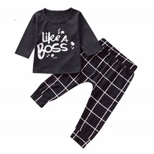 Toddler Infant Baby Boy Long Sleeve Letter T shirt Tops+Plaid Pants Clothes Set