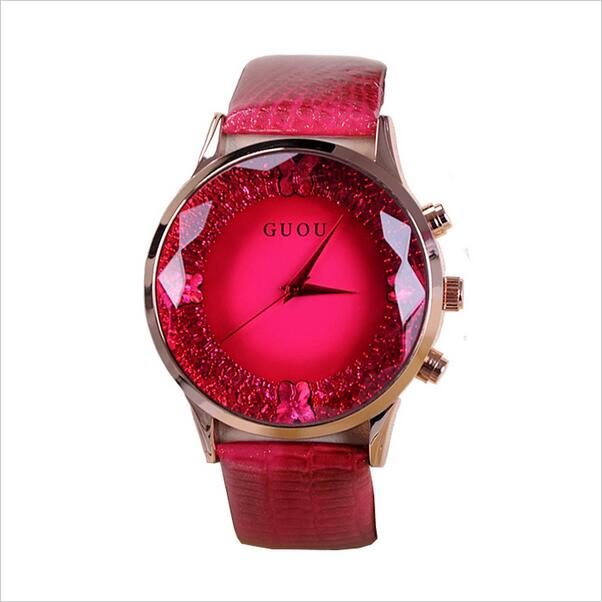 High Quality Luxury Watches Women Large Dial Wristwatches Genuine Leather Lady Dress Watch Women Rhinestone Watch
