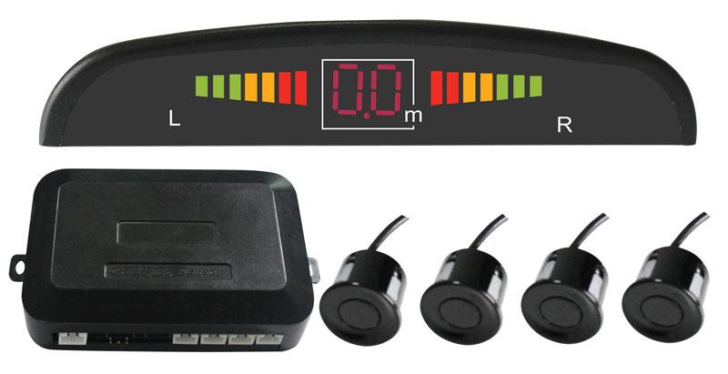 Prix pour Voiture LED Aide de Capteurs de Stationnement Inverse Alarme Radar Détecteur Système + Auto 4 Capteurs parking Sauvegarde rétroviseur Parktronic Noir