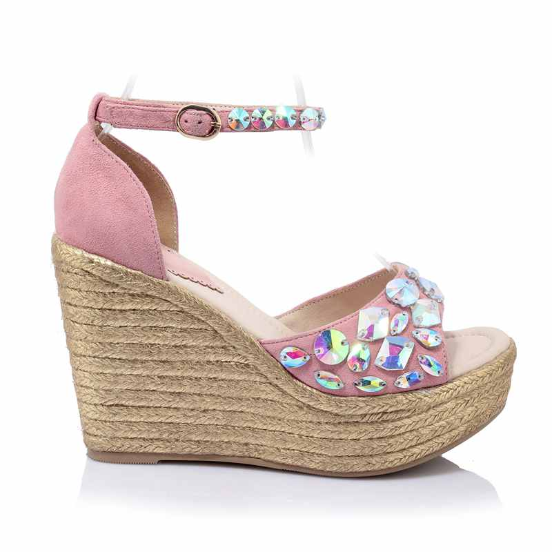 ФОТО 2017 new platform diamond brand shoes wedges crystal women sandals ankle straps bling Princess style high heels summer shoes 2-9