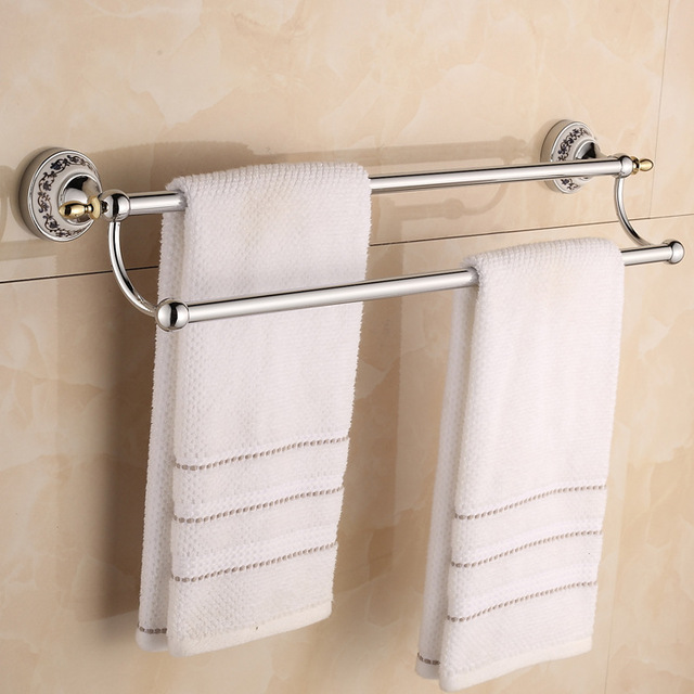 Merveilleux European Style Plating Golden Stainless Steel Bar Gold/ Silver Double Rod  Bathroom Towel Rack,