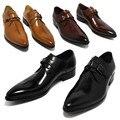 Cor profunda do café/amarelo escuro/preto vestido de negócios dos homens sapatos de couro genuíno apontou toe sapatos de casamento dos homens