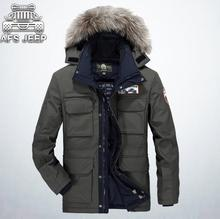 Mens Fur Parka AFS JEEP Brand Plus Velvet Thick Warm Loose Casual Hooded Coat Winter Snowimage Feather Jackets For Men