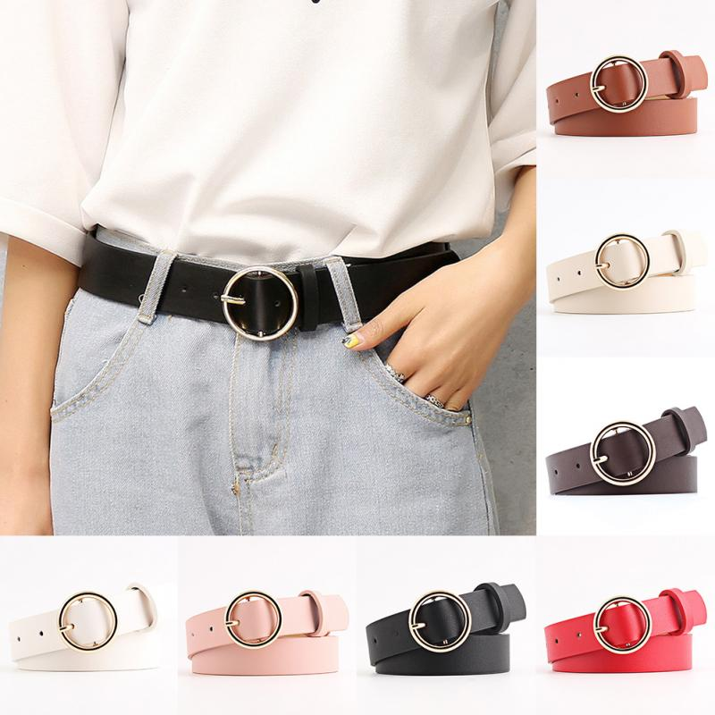 2019 New Women Fashion Waist   Belts   Leather Female Metal Pin Round Buckle Waistband #106