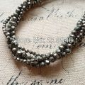 (Min order $10) 2 strands/Pack Natural Pyrite Strands Semi-precious Stone Bead Round-brilliant Jewelry Beads