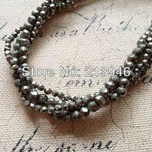 (Orden mínima $10) 2 líneas/Pack Natural Pirita Strands semi-preciosas Bolas de Piedra Redondas-brillantes Granos de La Joyería