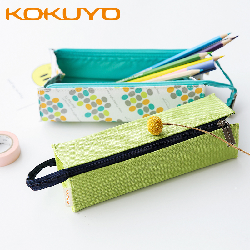 все цены на KUKUYO Canvas Pencil Case Bag For Boys And Girls School Supplies Zipper Pouch 4 Colors Kawaii Pencil Bag Pen Box School Supplies