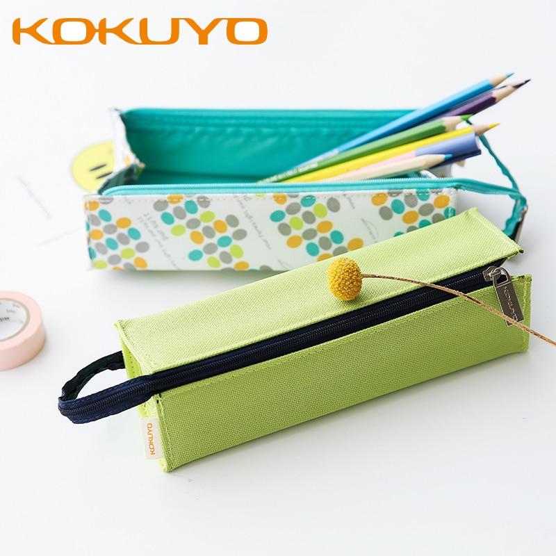 KUKUYO Canvas Pencil Case Bag For Boys And Girls School Supplies Zipper Pouch 4 Colors Kawaii Pencil Bag Pen Box School Supplies