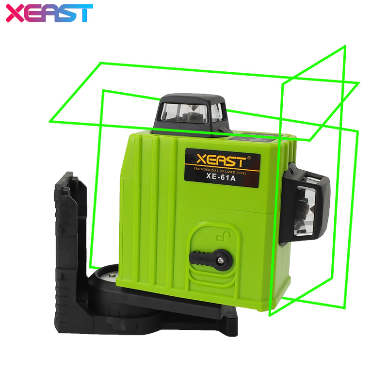 XEAST XE-61A 12 line Green laser level 360 Self-leveling Cross Line 3D Laser Level Green Beam With Tilt&Outdoor Mode xeast 12 line laser level 360 vertical and horizontal self leveling cross line 3d laser level red beam better than fukuda
