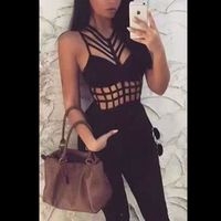 2017 Top Quality sexy Black sleeveless Sexy Bandage Jumpsuits women off shoulder Party Bodycon Jumpsuits romper hollow out
