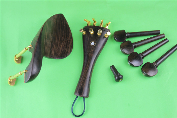 New Undyed Ebony Luthier Viola Parts, Pegs, Tailpiece, Chinrest, Endpin