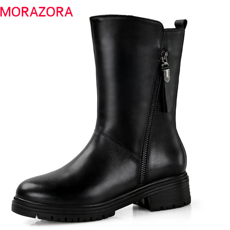 MORAZORA 2018 big size 35-43 ankle boots women genuine leather natural wool boots warm winter snow boots square heels shoes MORAZORA 2018 big size 35-43 ankle boots women genuine leather natural wool boots warm winter snow boots square heels shoes