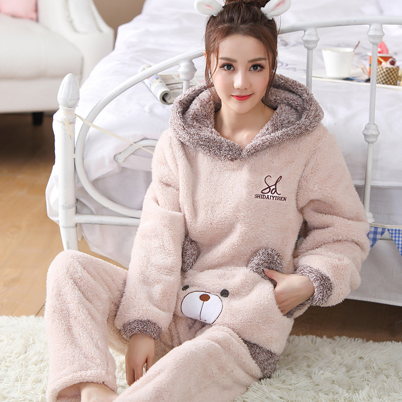 JINUO Latest Product Winter Women Flannel Thick   Pajama     Set   Lovely Young Girls Hooded Animals Bear Rabbit   Pajama   Casual Sleepwear