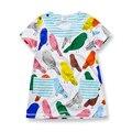 Vestido Da Menina de verão de Algodão Macio de Manga Curta Impresso Pássaro Com bolso Roupa Dos Miúdos Estilo Europeu Casual Vestido Para A Menina 1-6 anos