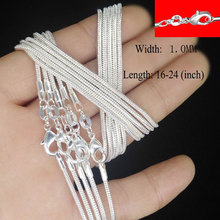 5pcs/lot  925 Sterling Silver Classic Snake Chain Necklace Mens Womens Fashion Jewelry Basic for Pendant Choker