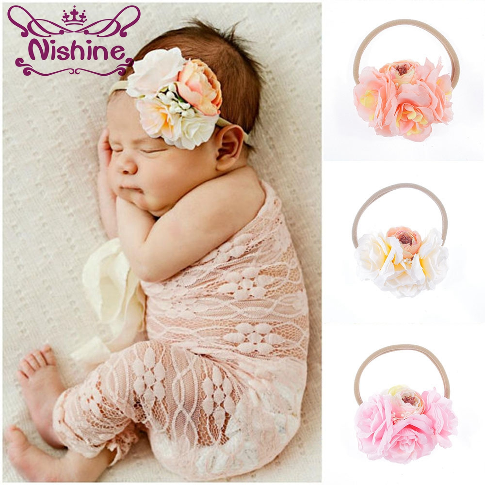 Nishine Artificial Flowers Nylon Headband with Stamens For Kids Girls Boutique Elastic Hair Bands Headwear Hair Accessories 3 pieces set princess girls flowers headband with nylon elastic band photography props for newborn hair accessories hair bands